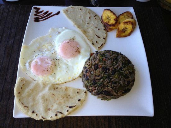 The Papaya Lounge Restaurant :                                     Gallo pinto on my first morning in Costa Rica!