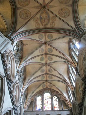 Salisbury Cathedral: Vaulted ceiling inside the cathedral