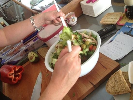 Deli on The Hill:                                     salad in making