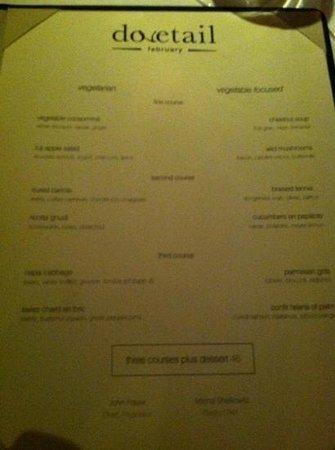 Dovetail :                                     vegetable Focussed menu