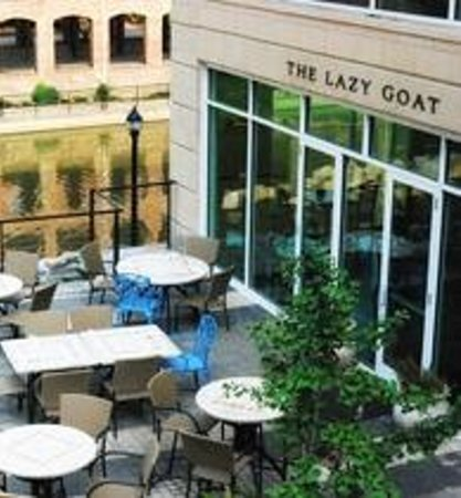 The Lazy Goat :                                     This is a daytime picture looking down on outside seating.