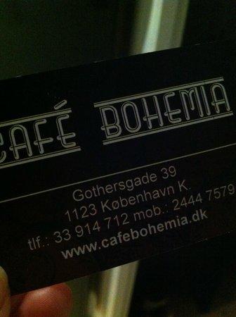 Cafe Bohemia:                                     Business card