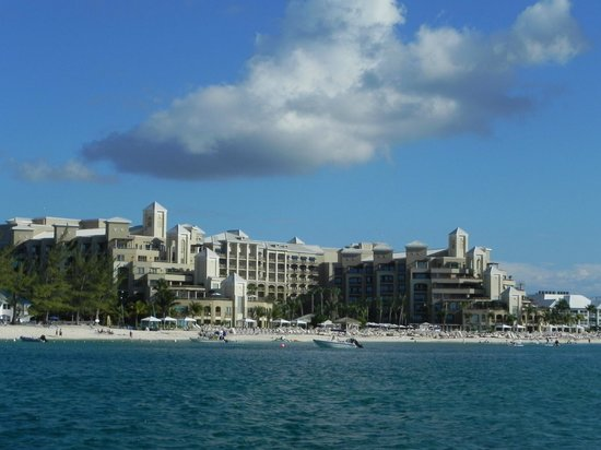 The Ritz-Carlton Grand Cayman:                                     View of the Ritz from a boat.