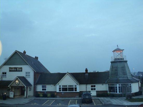 "Premier Inn Poole Centre (Holes Bay) Hotel:                   View of part of the Poole Holes Bay Premier Inn & ""Table table"" pub & restaura"