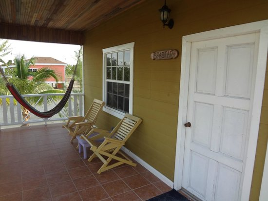 Coco Plum Island Resort:                   Front porch with hammock