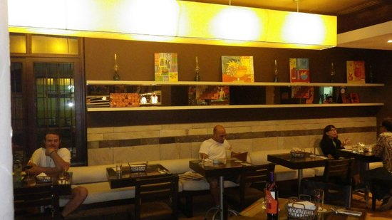 Mezze Restaurant and Cafe:                   Wall seating inside