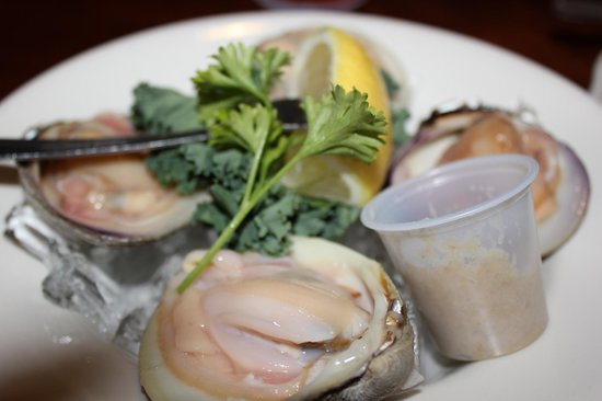 Topside Grill and Pub:                   Cherrystone oysters (actually clams)