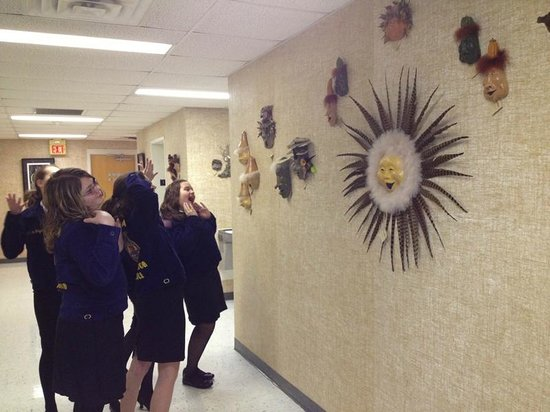 Shenandoah Showcase - Art at the Strasburg Town Hall: FFA members camp it up while viewing the work of artist Liz Hollingsworth