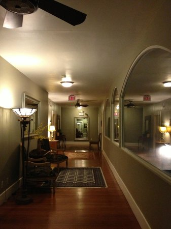 Found Hotel San Diego:                   hallway and lobby, the second floor
