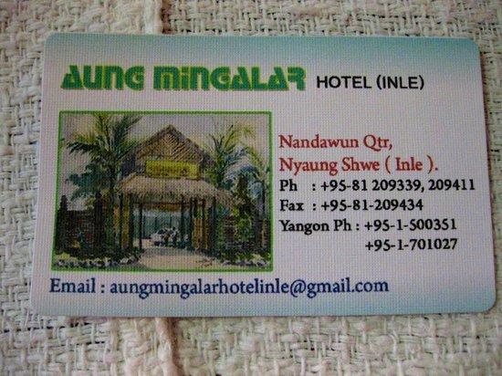 Aung Mingalar Hotel :                                     Business card