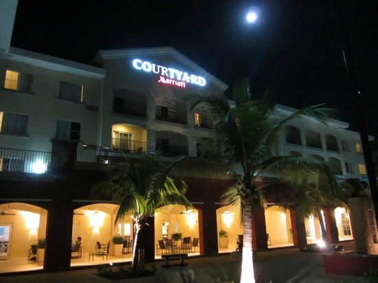 Courtyard Bridgetown, Barbados:                                     View of the South side of the hotel at night