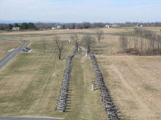 "Antietam National Battlefield:                   Looking down ""Bloddy Lane"" from the observation tower"
