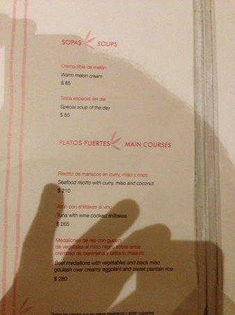 Hacienda Tres Rios:                   menu