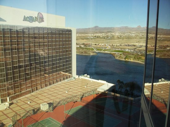 Aquarius Casino Resort:                   View from 16th floor looking toward Bullhead city.