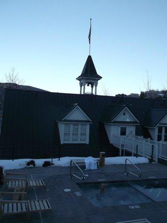 Washington School House Hotel: back view of hotel with flag aloft