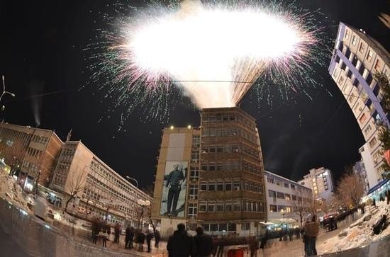 Mitrovica, Kosovo:                   Celebrations at city center