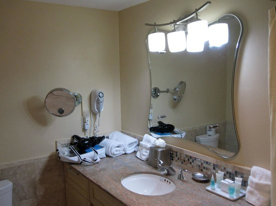 "Oyster Bay Beach Resort: New fixtures and tile in bathroom of this ""studio"""