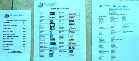Oyster Bay Beach Resort: In room entertainment (the DVD guide has more on the backside -- not pictured)