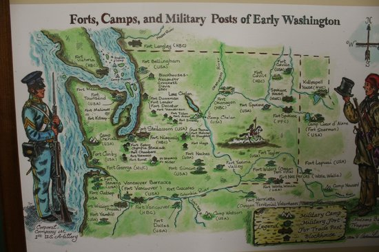 ‪‪Ft. Lewis Military Museum‬:                                     A map of the Washington Territory military installations.