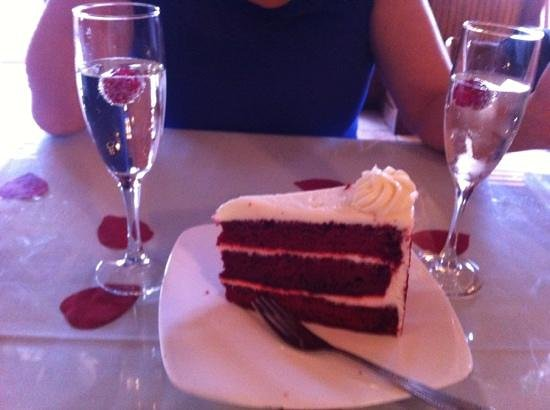 Eddie's Napoli's Italian Restaurant:                   valentines day complimentary champagne and red velvet cake