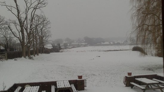 The Castle Inn:                   picture from pub window view of the snow :-)