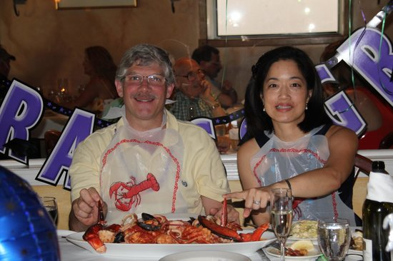 Alberto's Ristorante:                   Enjoying the Lobster Fra Diavolo for two!  Bene!