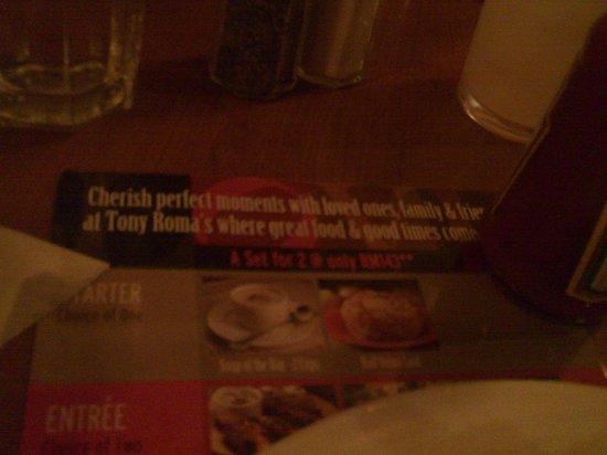 Tony Roma's : the menu..