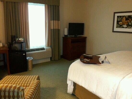 Hampton Inn & Suites Salem:                                                       King bedroom...they brought me the fridge
