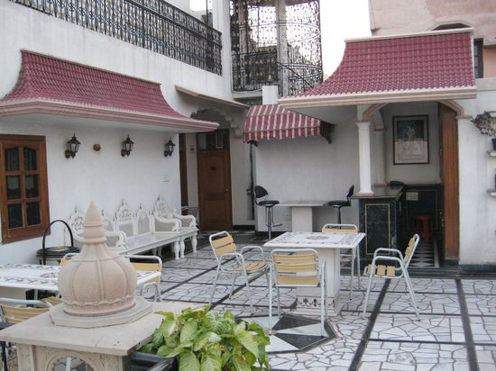 Bajaj Indian Home Stay:                   Outside upstairs on top of building drinks area