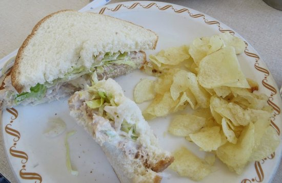 Superior Dairy: Tuna sandwich on white and potato chips