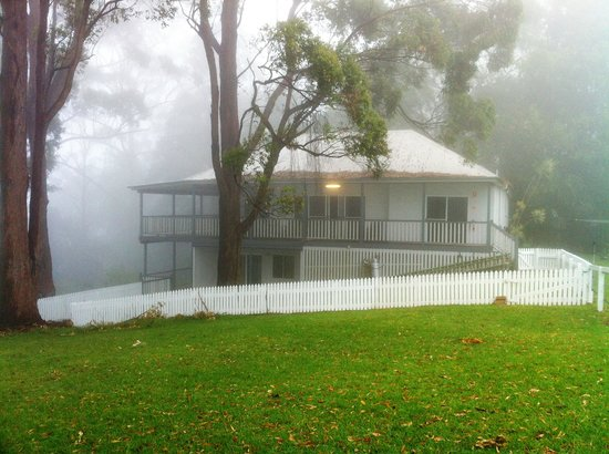 Aaronlee Retreat:                   Our cottage wrapped in fog                 