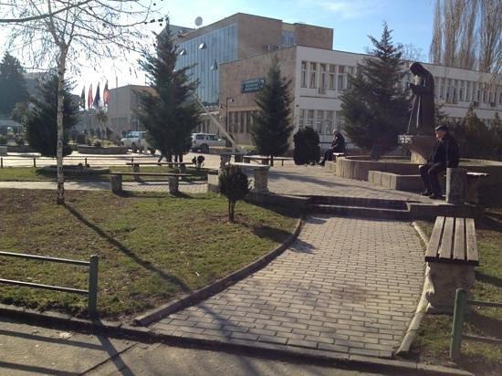 Mitrovica, Kosovo:                   Mother Teresa & the Municipality building