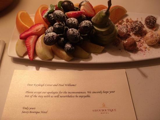 Savoy Boutique Hotel: our fruit and truffles !!!