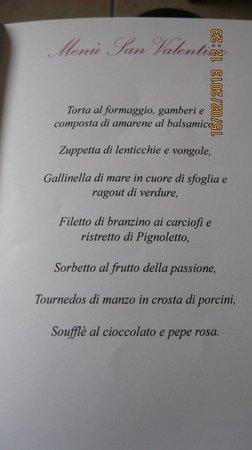 Ristorante La Bastia:                   Menù San Valentino 2013