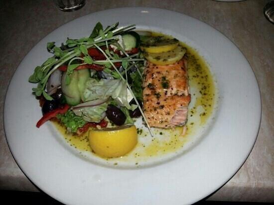 Venice Restaurant:                   Atlantic Salmon with a Greek Salad