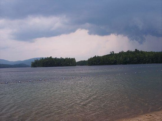 Wellington State Park: View of Newfound Lake and mountains from Wellington beach