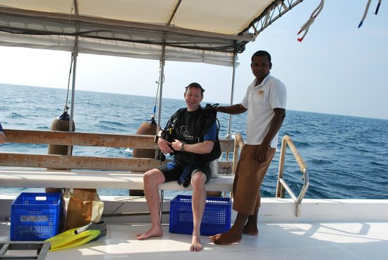 Baros Maldives:                   Diving off the the hotel boat