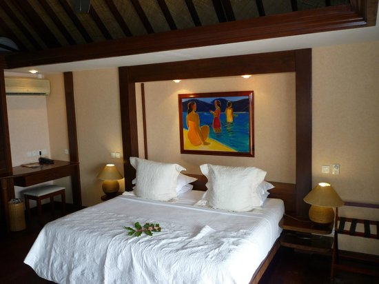 Manava Beach Resort & Spa - Moorea:                                     Interior of Beachfront Bungalow