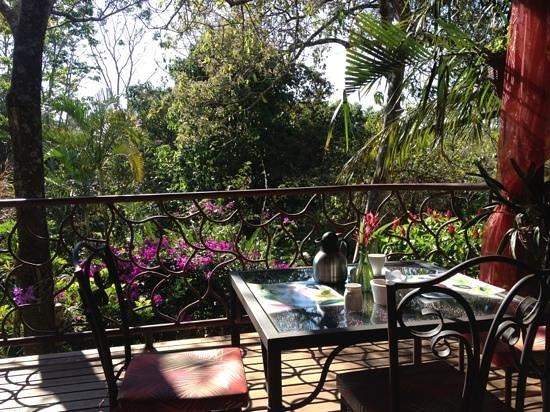 Tacacori EcoLodge:                   Frühstück auf der Veranda