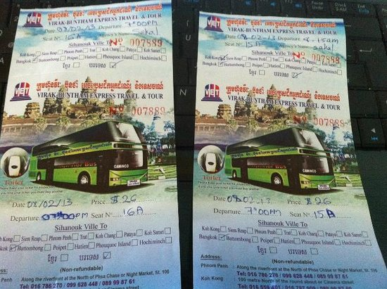 Sakal Bungalows:                   Bus Tickets - gekauft an der Sakal Rezeption