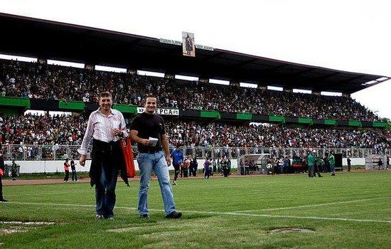 Mitrovica, Kosovo:                   The Trepca stadium. Trepca soccer team becomes the champion of Kosovo.