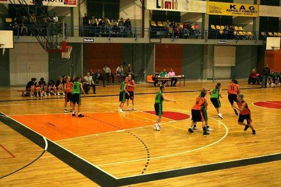 Mitrovica, Kosovo:                   Trepca basketball club (females) in green playing Prizren