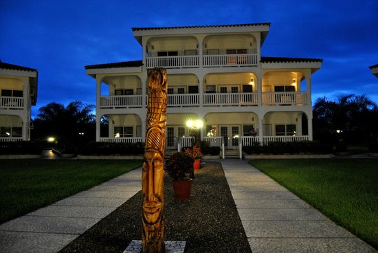 The Placencia Hotel and Residences:                   Grounds at dusk