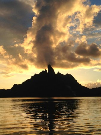 St. Regis Bora Bora Resort:                   Sunset from Terrace restaurant. Cool place, has glass floors with sharks under