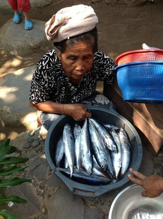 Lumbung Damuh:                   Local lady selling fish - which we purchased and ate for supper!