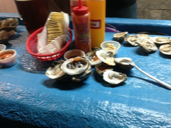 Lee & Rick's Oyster Bar : during the first bucket of oysters