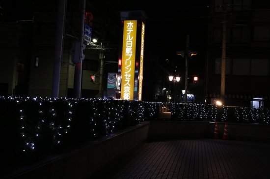 Hotel Nikko Princess Kyoto:                                     ホテル外の表示-夜