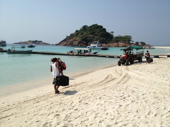 Coral Redang Island Resort:                   staff carrying luggage