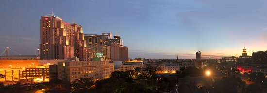 The Emily Morgan Hotel - a DoubleTree by Hilton:                   sun setting over San Antonio from my 8th floor hotel room