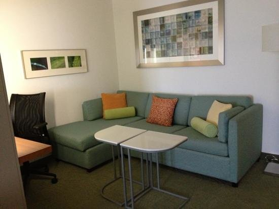SpringHill Suites Savannah Downtown/Historic District:                   desk and living area
